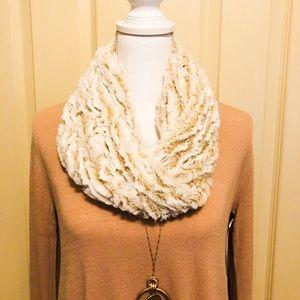 Beige two tone faux fur tube scarf